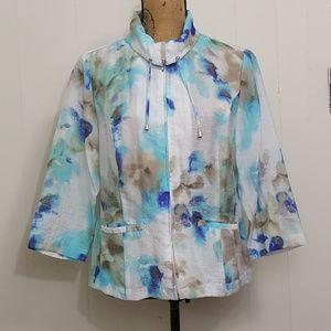Chicos Watercolor Full Zip Turtleneck Jacket